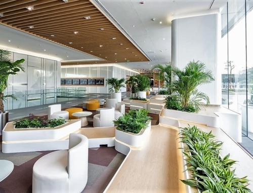 Replica Areca palms and plants shown in Hotel Lobby