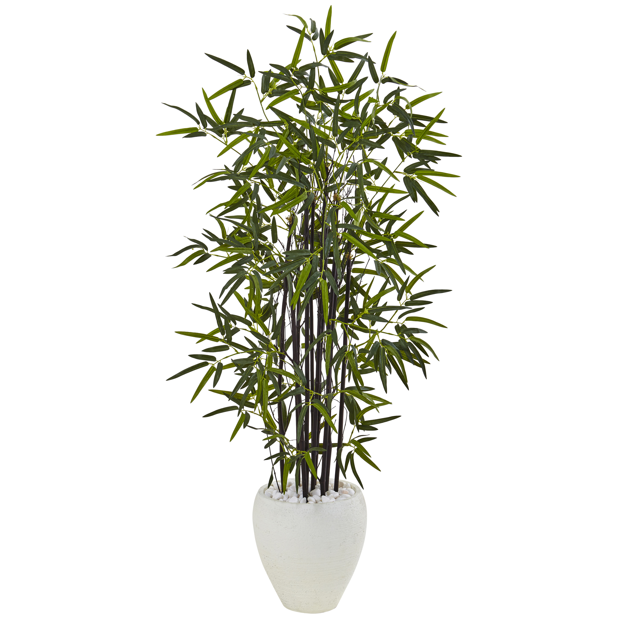 Replica 5 Ft Black Bamboo Tree In White Oval Planter