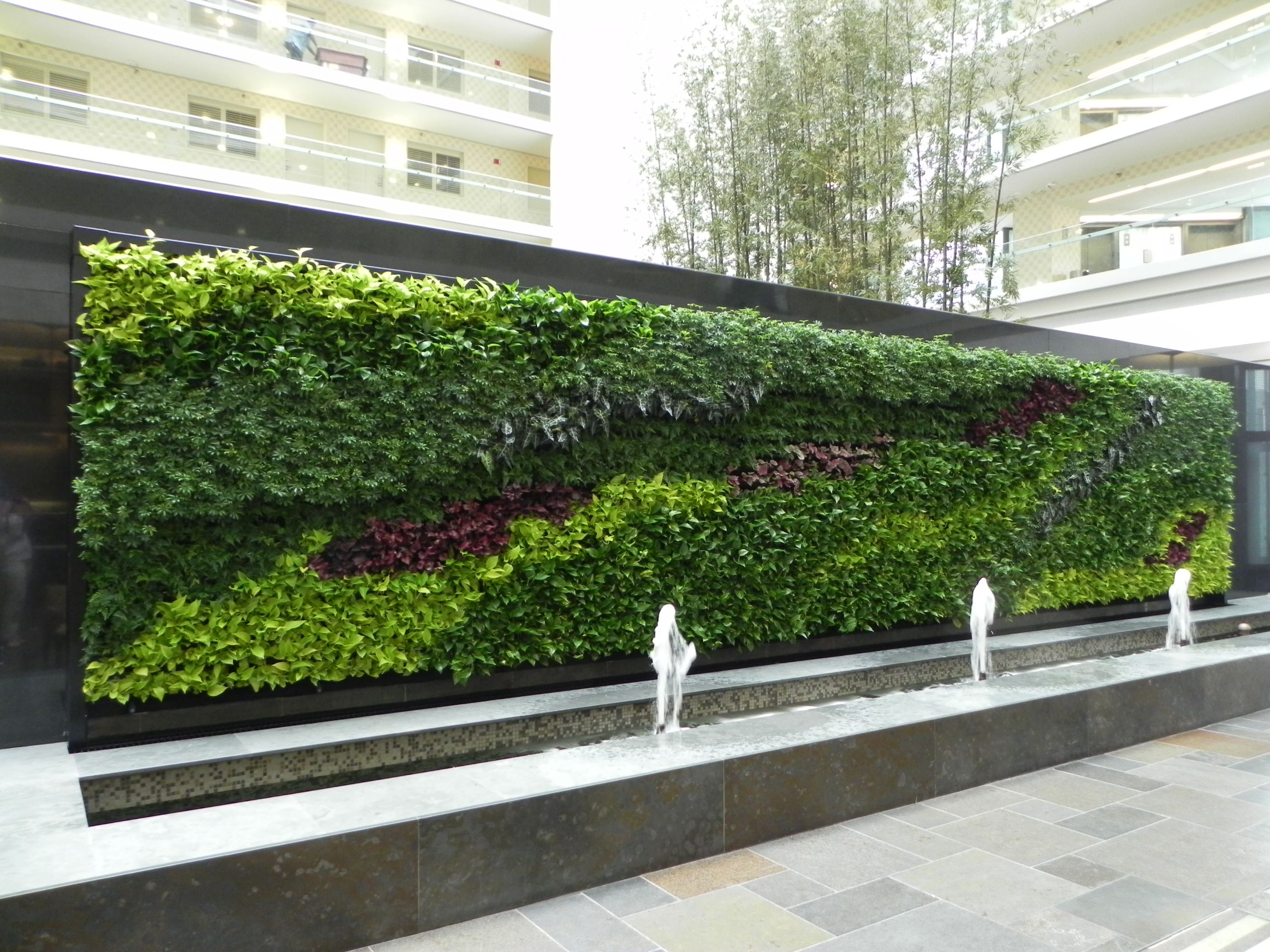 exterior custom replica green wall with water fountain preserved interiors